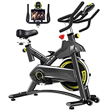 Cyclace Exercise Bike Stationary 330 Lbs Weight Capacity- Indoor Cycling Bike with Comfortable Seat Cushion Tablet Holder and LCD Monitor