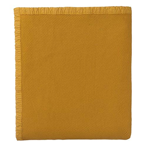 """URBANARA Tagesdecke """"Tabua""""100% Baumwolle, Senfgelb im Waffelmuster mit Stonewashed Effekt- 180 x 230 cm, Tagesdecke, Sofadecke, Plaid, Bett-Überwurf"""