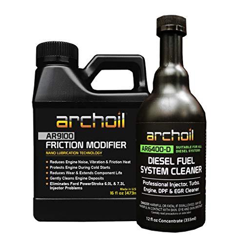 Archoil AR9100 Friction Modifier (16oz) + AR6400-D Diesel Fuel System Cleaner (12oz)