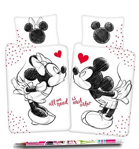 Minnie Maus in Love Partner Bettwäsche Kopfkissen Bettdecke Micky für 135x200 cm Gratis Bleistift