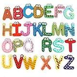 Fliyeong 26 letras magnéticas del alfabeto A-Z imanes de nevera de madera juguetes educación rentable
