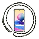 Étui à breloques transparent pour Xiaomi Redmi Note 10 5G/Poco M3 Pro 5G avec cordon vert/doré