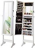 LUXFURNI - Armario con luz LED para joyer¨ªa, Espejo de pie con Armario, Gran Organizador de Almacenamiento con cajones (Blanco)