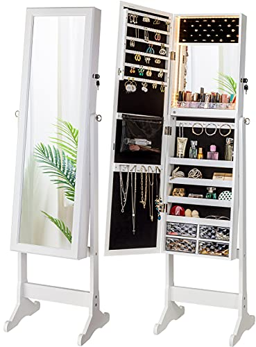LUXFURNI LED Light Jewelry Cabinet Armoire, Standing Mirror Makeup Lockable Large Storage Organizer w/Drawers (White)