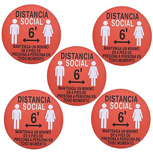 Pegatinas de piso de distanciamiento social, 5 calcomanías de piso, señales de distancia segura, marcador de advertencia de distancia antideslizante, para tienda, hospital, hotel(XG006)