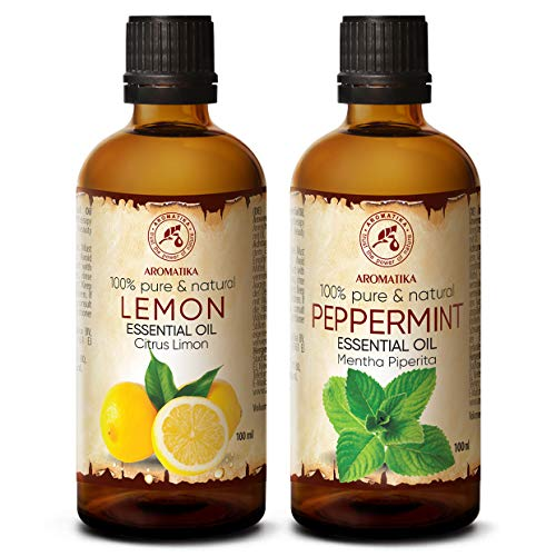 Set de Aceites Esenciales - 2x100ml - Aceite de Limón y Menta - Mentha Piperita - Aroma a Menta - Aceites de Aromaterapia para Difusor - Aromalamp - Cuidado de las Uñas - Buen Humor - Aroma Fresco