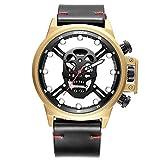 SJXIN Bello ed elegante orologio da polso, Skone/orologio da uomo con teschio cava orologio grande quadrante luminoso al quarzo (Colore : 2)