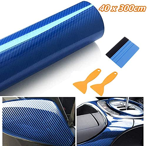 Vinilo Fibra de Carbono 6D 40 x 300CM Película Pegatina Decoración Autoadhesiva a Prueba de Agua Libre de Burbuja Uso Interior para Coche Motocicleta Teléfono Móvil (Azul)
