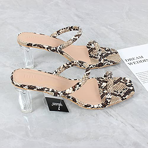 Women s High-Heeled Shoes 2021 Summer New Serpentine Striped Crystal Thick Heeled Sandals European And American Leisure 36-41