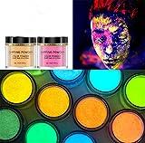 Arte de Uñas Brillante con Brillo de Polvo de Inmersión, Kit de Iniciación de Polvo Mágico de Uñas de Inmersión Fluorescente, Polvo Holográfico de Bricolaje en Brillo en la Oscuridad (2 cajas) (08&09)