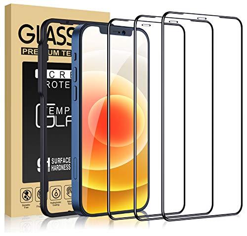 Cocoda 3 Piezas Protector Pantalla Compatible con iPhone 12 Mini, Marco Instalación Fácil, Dureza 9H, Sin Burbujas, Cobertura Completa Cristal Templado Ultra HD-5.4 Pulgadas