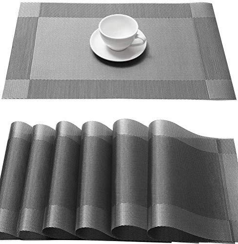 Lot de 6 Set de Table Sets de Table en Vinyle tissé Lavable PVC Tapis de Table 45 x 30 cm pour Table de Restaurant de Cuisine à Manger