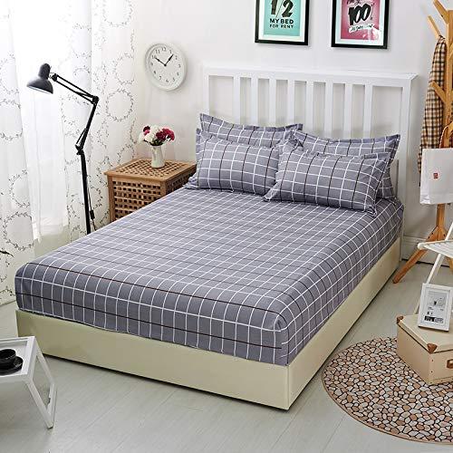 haiba Sábana bajera ajustable para cama doble, 100% algodón puro con diseño extra profundo, sábana bajera ajustable de 200 x 230 cm