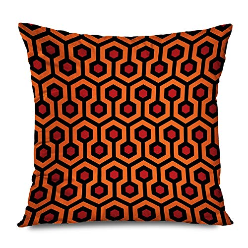 TETUDA Throw Pillow Cover Square 18'x18' The Shining Overlook Hotel Carpet Redrum Retro Hexagon Geometric Trellis Modern Polygon Red Orange Brown Decorative Pillowcase Home Decor Zippered Cushion Case