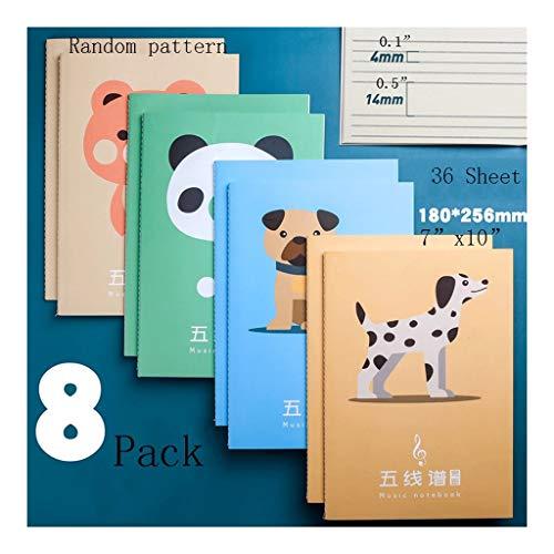 WPBOY Cuadernos 4-Pack de la Hoja en Blanco Composición Musical: Manuscrito de la música Papel/Notebook for Músicos/Niños Hoja de música de Piano en Blanco del Cuaderno (7'x 10') Cuaderno de Moda