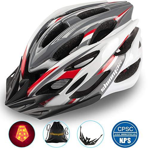 Shinmax Fahrradhelm mit Sicherheitslicht, Verstellbare Sport Bike Fahrradhelme für Motorrad für Erwachsene Männer Frauen Jugend Racing Sicherheit Schutz mit CE Zertifikat(Grau Rot Weiß-Großes Licht)