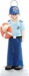 Personalized Coast Guard Christmas Tree Ornament 2019 - Protect Commander Brave Service-Man Security Blue Uniform Safety Vest Ring Proud USA Dog DSF DHS DOD Year Milestone - Free Customization