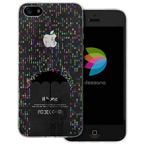 dessana Androiden Sci Fi transparante beschermhoes mobiele telefoon case cover tas voor Apple, Apple iPhone 5/5S/SE, Robot Cijfers regen
