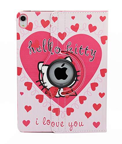 iPad 8th Generation / iPad 7th Generation Hülle, Hello Kitty Design 360 Grad drehbare PU Leder Smart On/Off Cover Hard Hülle für Apple iPad 10.2 Zoll 2019 und 2020 (Pink)