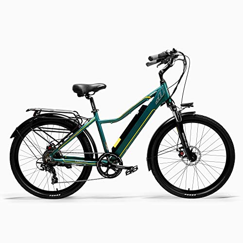 LANKELEISI Pard3.0 26 Inch Electric bicycle, 300W City Bike, Oil Spring Suspension Fork, Pedal Assist Bicycle, Long Endurance (Green, 10.4Ah)