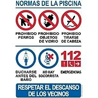 Cartel resistente PVC - NORMAS DE PISCINA - Señaletica de aviso - ideal para colgar y advertir (Idioma: ESPAÑOL)