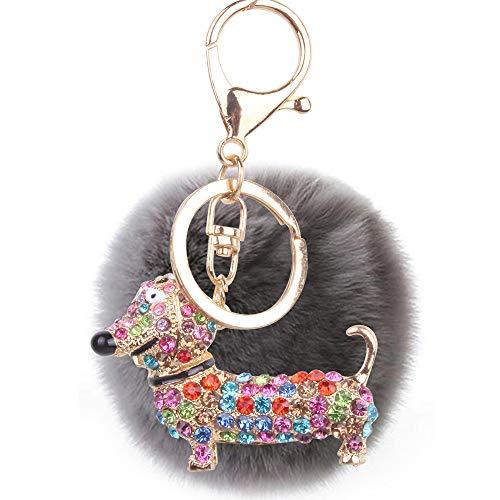 Cute Corgi Ladies Keychain Diamond Cartoon Puppy Llavero Regalo Gris