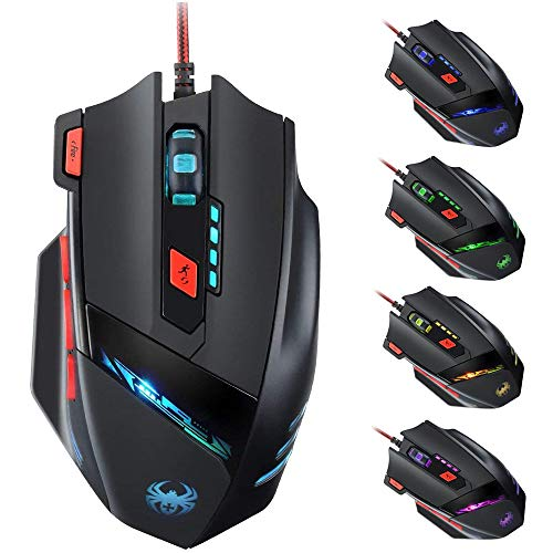 Zelotes Gaming Mouse Wired,9200DPI 8 Buttons Ergonomic Game Computer Mice,USB RGB PC Gaming Mouse,Black