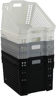 Ikando Paniers de Rangement Plastique, Noir, Gris et Blanc, Lot de 6