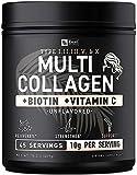 Premium Collagen Peptides Powder (1, 2, 3, 5 & 10) Multi Collagen Protein + Vitamin C + Biotin + Hyaluronic Acid - #1 Collagen Powder for Women Hair Skin and Nails - Marine, Bovine, Chicken & Eggshell