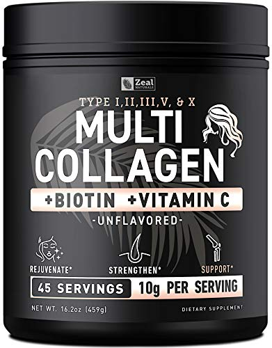 Premium Collagen Peptides Powder (1, 2, 3, 5 & 10) Multi Collagen Protein + Vitamin C + Biotin + Hyaluronic Acid - Collagen Powder for Women Hair Skin and Nails - Marine, Bovine, Chicken & Eggshell