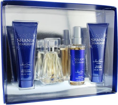 Shania Starlight by Shania Twain for Women. Set-Eau De Toilette Spray 1.7-Ounces & Body Mist 4-Ounces & Shimmer Body Lotion 4-Ounces & Shower Gel 4-Ou