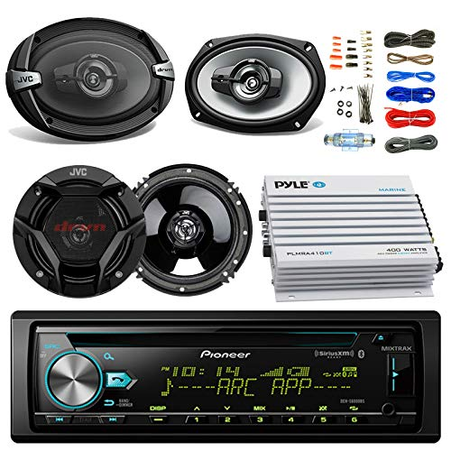 Pioneer DEH-S6000BS Car CD Player Receiver Bluetooth USB AUX Radio - Bundle Combo with 2X JVC 6x9 3-Way Vehicle Coaxial Speakers + 2X 6.5 Inch 2-Way Audio Speakers + 4-Channel Amplifier + Amp Kit