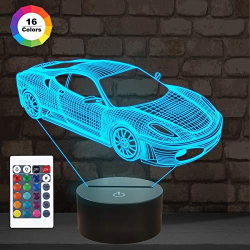 Auto 3D Nachtlicht, Sport Rennwagen Illusion Lampe mit Fernbedienung 16 Farben ändern, Urlaub Weihnachten Geburtstagsgeschenke für Kinder Kind Teen Todder