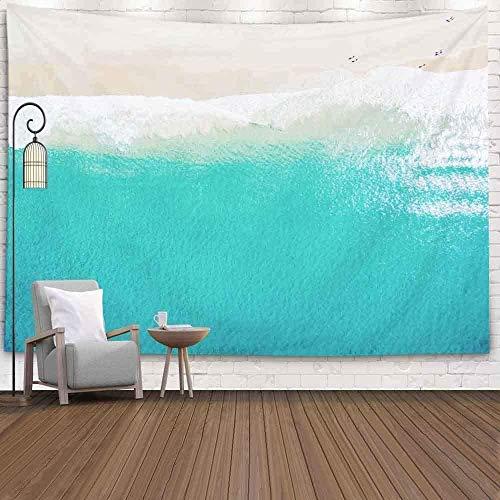Tapiz Art Paño para colgar en la pared Impresión HD Cocina Dormitorio Sala de estar Decoración,Art Room Decor Collegw Dorm Decor Hermosa playa de arena blanca Tropical Turquesa Azul Vista al mar d