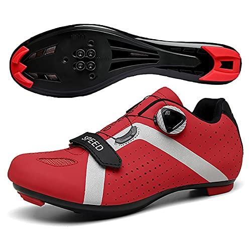 Zapatillas De Ciclismo para Hombre Y Mujer, Zapatillas De Bicicleta De Carretera Y MTB De Fibra De Carbono Transpirables, Zapatillas De Bicicleta De Montaña con Diseño De Tira Reflectante