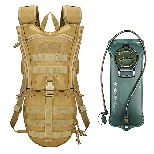 vAv YAKEDA Mochila táctica de hidratación con bolsa de agua de TPU de 2,5 l, mochila militar para senderismo, ciclismo, correr, caminar y escalar (color mo)