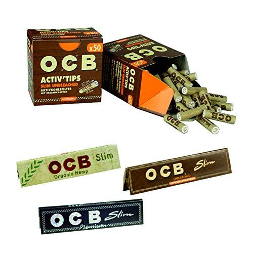 Set OCB Unbleached Activ Tips Aktivkohle Filter Bundle Set 2x50 Stück inkl. 3 Heftchen OCB Schwarz Slim, Organic und Unbleached Gratis…