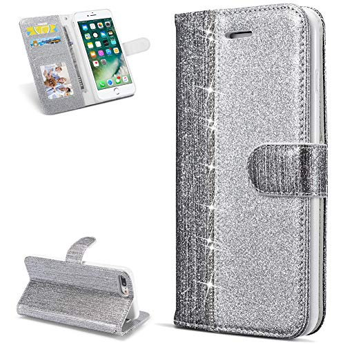 HUDDU Handy Hülle Compatible for Glitzer iPhone 7 Plus/iPhone 8 Plus Handyhülle Geldklammer Tasche Wallet Flip Case Schutzhülle iPhone 7 Plus/iPhone 8 Plus Kartenfach Megnet Mädchen - Diamant Silber