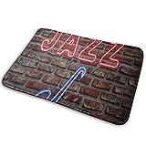 Music Neon Jazz Saxofón en la pared de ladrillo Tapetes de bienvenida para puertas Felpudo antideslizante Felpudos para interiores y exteriores Tapete para el piso Alfombras para el hogar Alfombra par