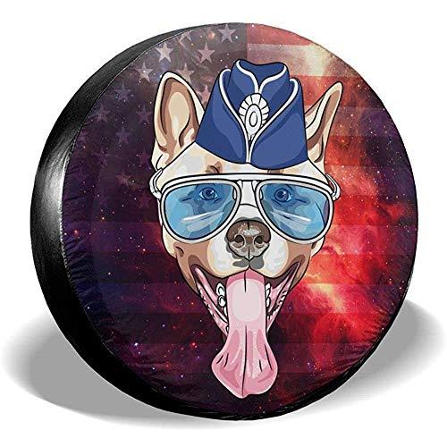 XZfly Reserveradabbedekking Akita Samoelke hondenkoning Charles Spaniel Franse bulldog met bril Universele wieldoppen voor je-ep trailer
