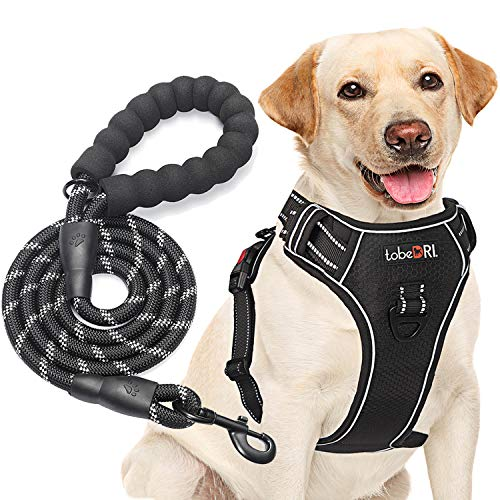 """tobeDRI No Pull Dog Harness Adjustable Reflective Oxford Easy Control Medium Large Dog Harness with A Free Heavy Duty 5ft Dog Leash (M (Neck: 14.5""""-20.5"""", Chest: 22""""-28""""), Black Harness+Leash)"""