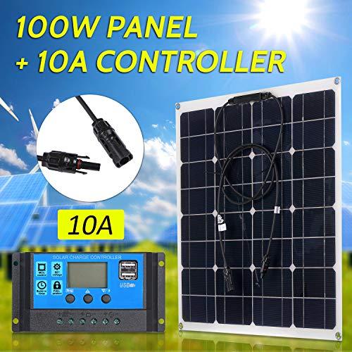 100 Watt 18 V Monokristallines Solarmodul Kit Hohe Effizienz IP65 Wasserbeständigkeit mit 10/20/30/40 / 50A Solarladeregler PWM Intelligenter Regler für Wohnmobile Auto Boot Batterien aufladen