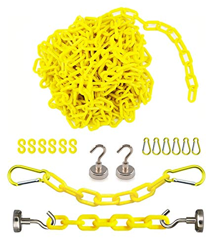 Reliabe1st 26 Feet Yellow Plastic Safety Barrier Chain with 2 Magnetic Hooks and 6 S-Hooks and 6 Carabiner Clips | Caution Security Chain Safety Chain for Crowd Control | Safety Barrier