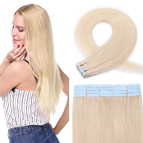 20 PCS Extension Adhésive Bande Adhésive Cheveux Humain Naturel Mèche Rajout Cheveux (2g/pcs) Tape In Hair Extension Human Hair 12\