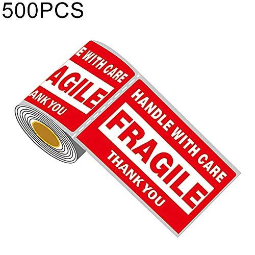 FENSHIX 500PCS Auto-adhésif Anglais Outer Box Autocollant d'avertissement Étiquette Fragile, Taille: 76x127mm Précieux