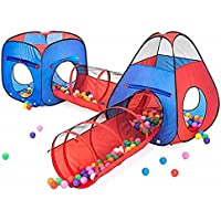 4-Pieces Kiddzery 2 Tents + 2 Crawl Tunnels Play Set