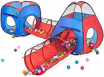 4-Pieces Kiddzery 2 Tents + 2 Crawl Tunnels Play Set