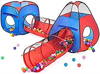 Kiddzery 4pc Kids Play tent Pop Up Ball Pit - 2 Tents + 2 Crawl Tunnels - Children Tent for Boys & Girls, Kids Toddlers & ...