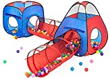 Kiddzery 4pc Kids Play tent Pop Up Ball Pit - 2 Tents + 2 Crawl Tunnels - Children Tent for Boys & Girls, Kids Toddlers...