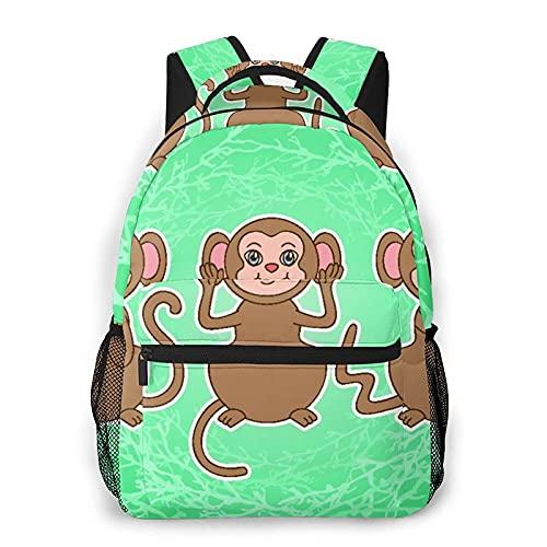Mochila de ocio al aire libre para mujeres, hombres, viaje, mini mochila, bolsos, monedero, conjunto de vectores de monos de dibujos animados lindos, todas las estaciones, unisex, de gran capacidad,